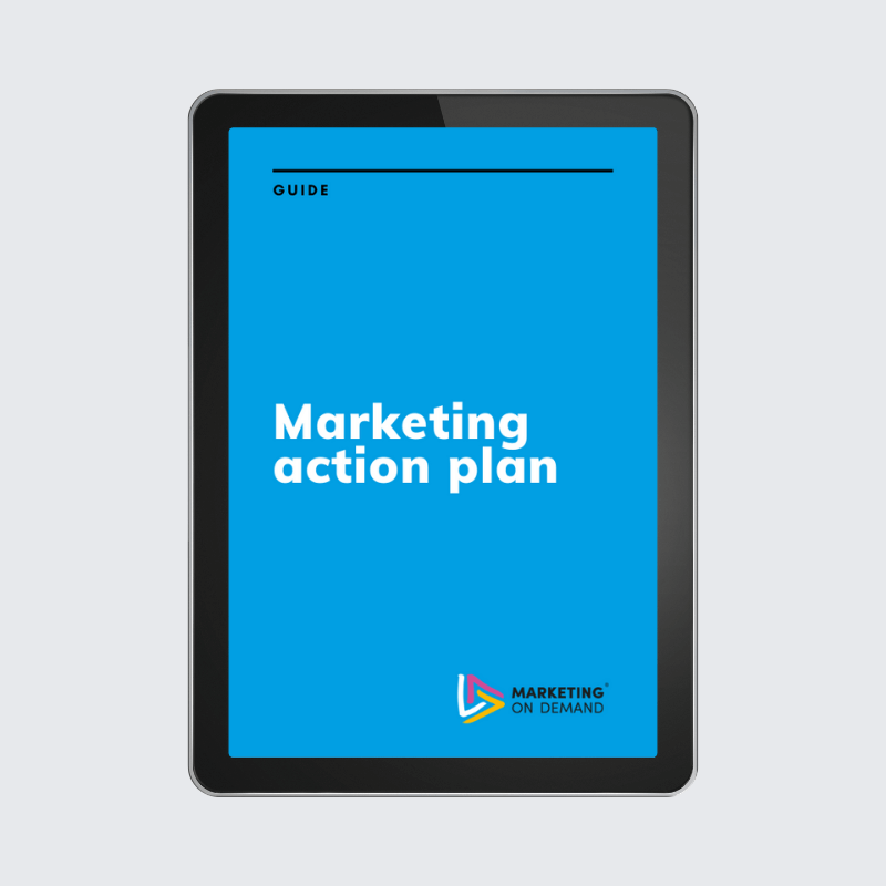marketing action plan guide on tablet